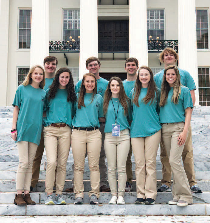 Montgomery Youth Tour participants in 2020, front row from left, are Emma Martin, Hannah Seales, Mallory Hagler, Shelbie Chambers, Gracen Hodges, and Ally Price. Back row from left is Jake Faulk, Cole Sorrells, Will Birdsong, and Wade Reeder.