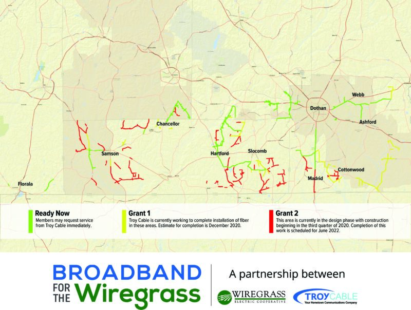 Broadband for the Wiregrass map
