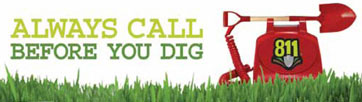 Always call before you dig. Phone with 811 logo on it sitting on grass.
