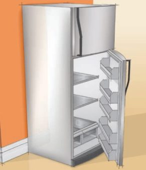 Refrigerator with door open