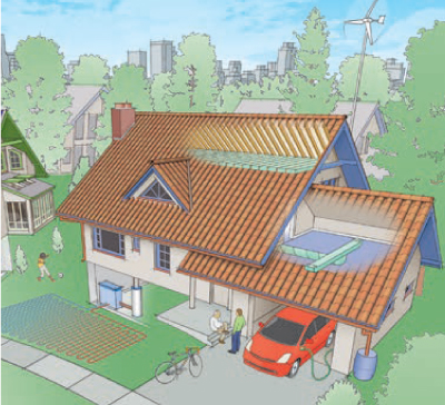 House illustration in a neighborhood.