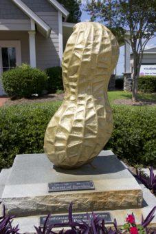 Golden peanut statue outside.