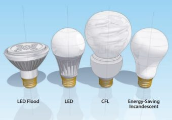 4 different types of lightbulbs — LED flood, LED, CFL, and Energy-saving incandescent.