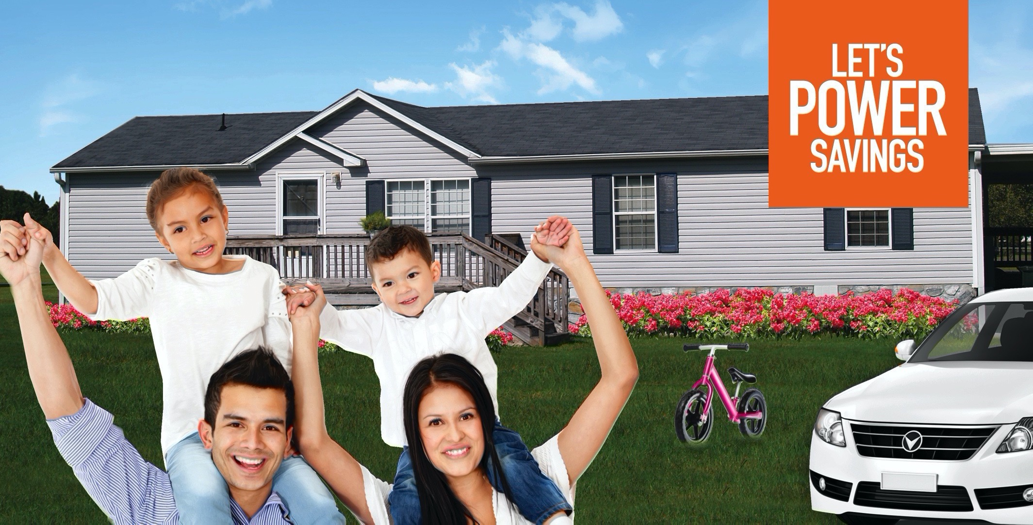 Let's power savings. Happy family standing on lawn outside of house.