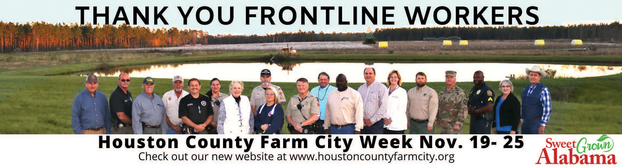 large group of frontline workers outside. Houston County Farm City Week November 19 to 25, check out our new website at www.houstoncountyfarmcity.org