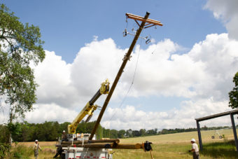 Linemen working with equipment to lift power pole up.