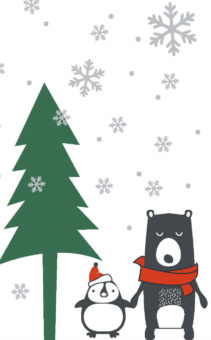Bear and penguin holding hands under christmas tree outside illustration.