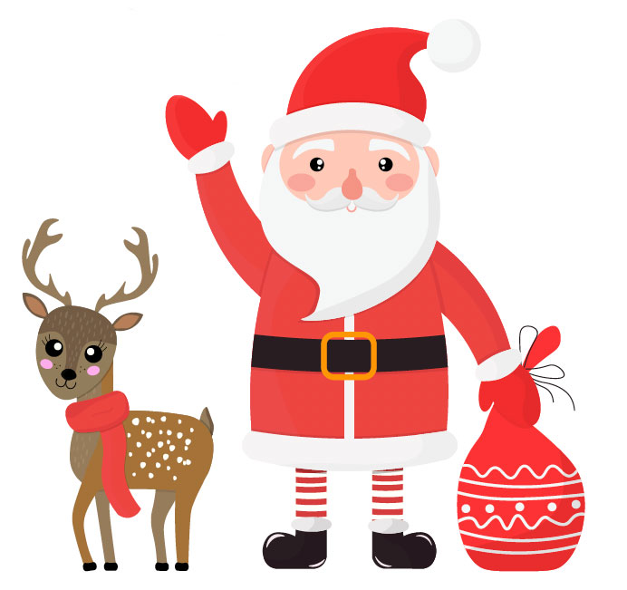 santa with reindeer illustration