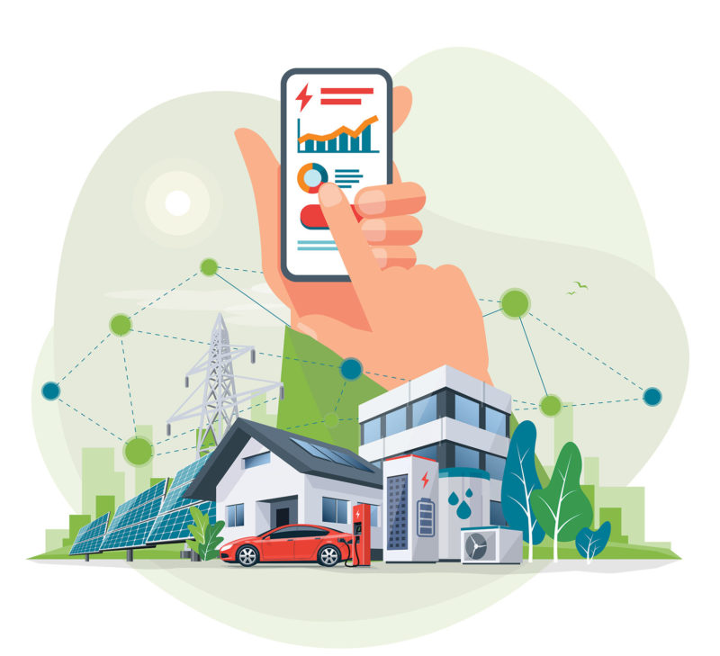 illustration of smartphone usage controlling energy use in a house