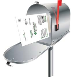 Packet in mailbox illustration