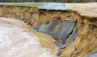 flooding of a dam