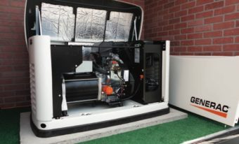 Generator with cover open and removed